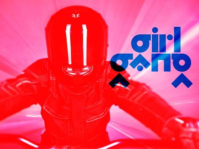 Girl Gang Bōsōzoku akira japanese speed motorcycles overprint blue red fast custom typography tokyo
