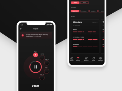 Workout App branding ui ux workout gym sports navigation black red simple minimal clean flat mobile ios iphone app