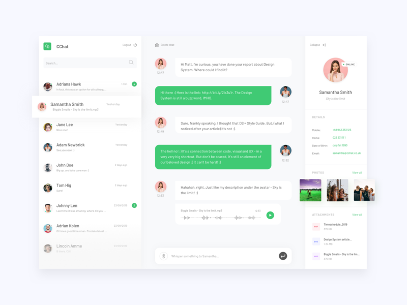 Chat App user inteface objectivity desktop design messenger app whatsapp desktop chatting chat app sketch vector app gromulski design flat ux ui