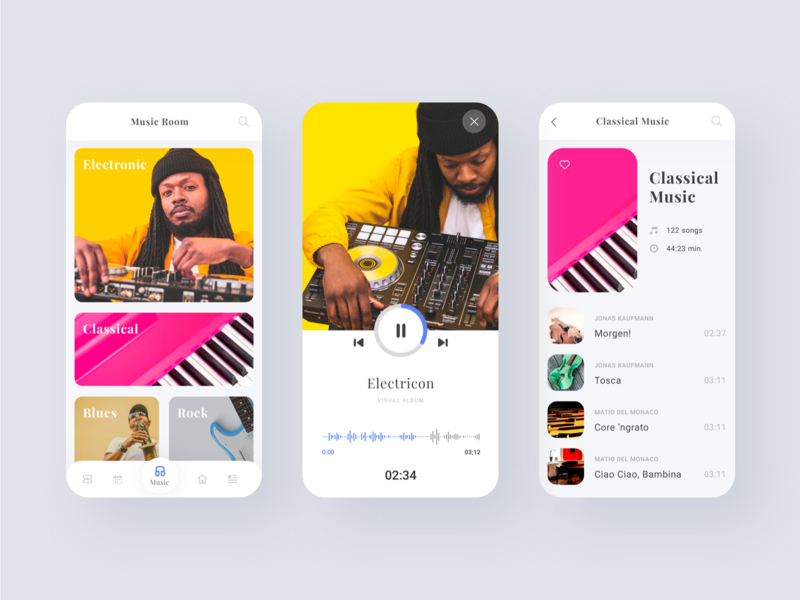 Music player android app ios flat branding design gromulski app sketch ui ux