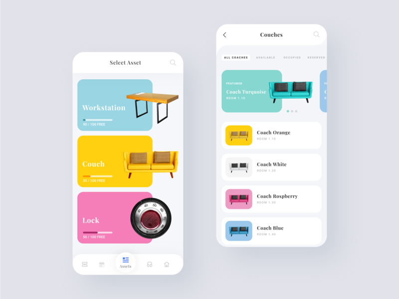 Asset booking asset sketch flat facility management app facility manager facility booking gromulski colours mobile ui ux uxui assets asset booking design app ios