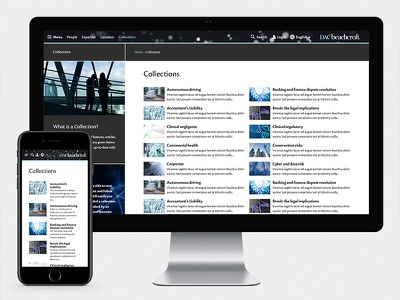 DAC Beachcroft collections page web design user experience ux user interface ui law 16i digital grid listing responsive