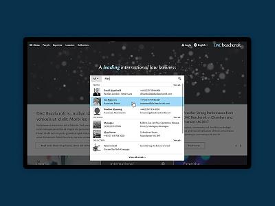 DAC Beachcroft search search ui ux web design digital auto-complete predictive user experience user interface law mobile 16i