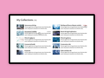 Account area - Collections 16i design digital ui account dashboard list grid articles