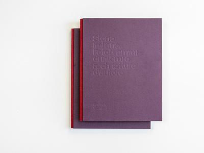 Storie Italiane. Fotogrammi di interni e architetture d'autore book bodonian binding red violet purple cover cover design embossed typography monograph catalog book design