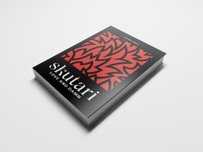 Skutari. Love and damn — Book cover jacket typography black red flames fire flame flat minimal illustration cover design cover book