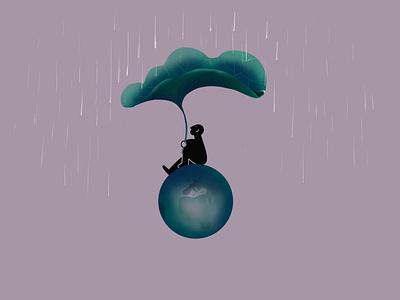 Waiting waiting earth violet rain figure black procreate illustration