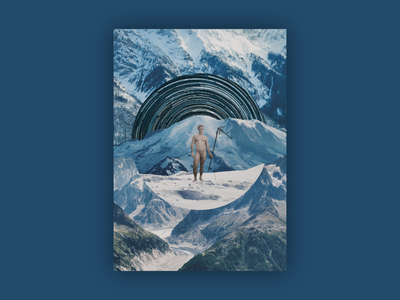 Orgônio original artwork | NFT illustration time snow nude guy male naked poster mountain music artwork blue collage cryptoart nftart nft