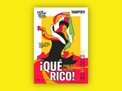 ¡Qué Rico! Poetry Slam Poster bold art illustration flamenco andalusia yellow que rico poetry poetry slam spain poster