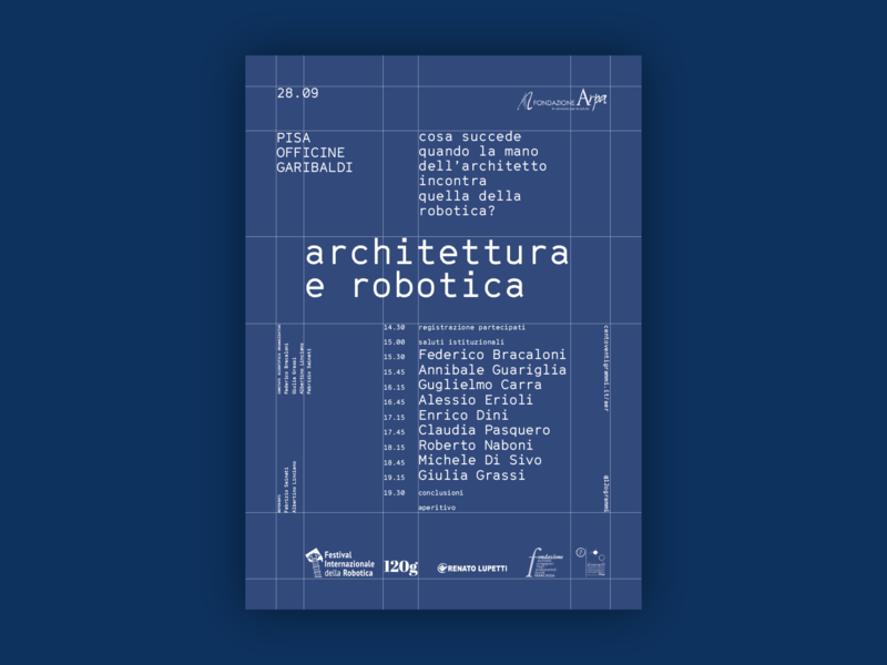 Architecture and Robotics conference gt cinetype grilli type event lecture conference architecture robotics layout grid white blue wireframe poster