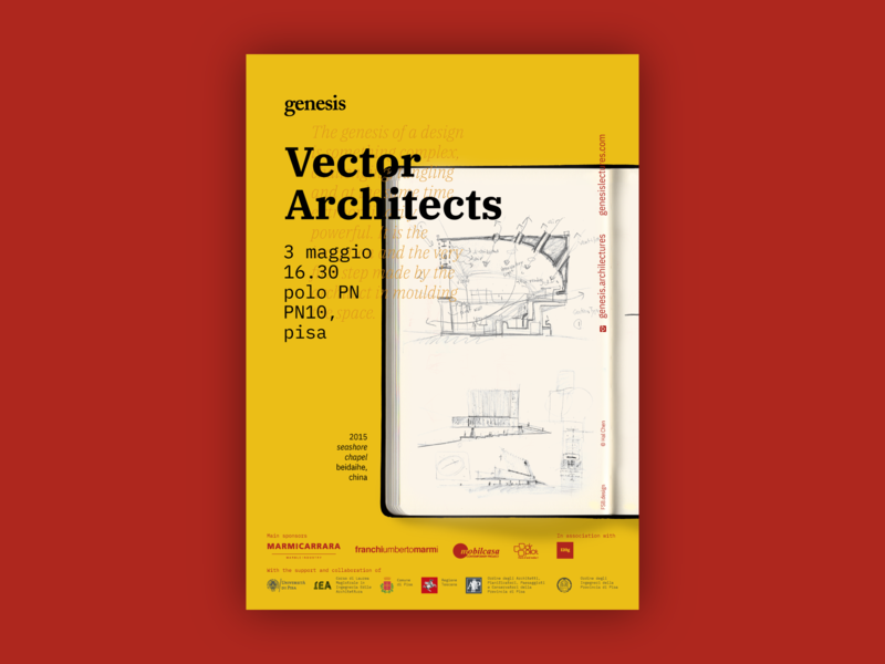 Genesis Lectures 2019 — Vector Architects drawing architecture lecture conference illustration sketch ibm plex red yellow type typography bold poster