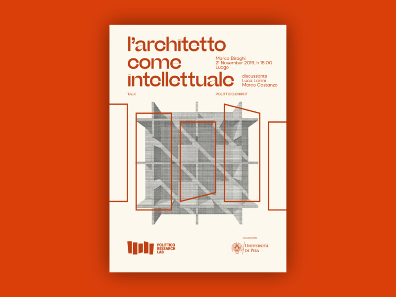 Polittico Research Lab — Poster #3 drawing illustration minimal beige orange red font type sharp type beatrice display typography poster