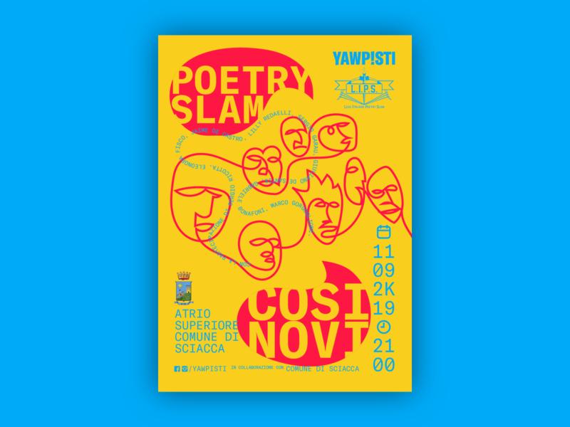 Cosi Novi Poetry Slam grilli type gt america bold fluo illustrator outline single line poetry poster poetry slam
