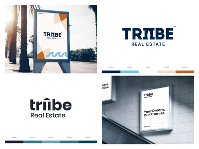 Triibe Real Estate icon pattern estate real typography type book mockup landing design web clean