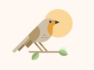 European Robin bird design flat iconography icon art app layout clean type typography minimalistic minimal web website illustration