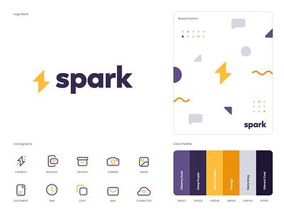 Spark Branding design flat iconography icon art app layout clean type typography minimalistic minimal web website illustration