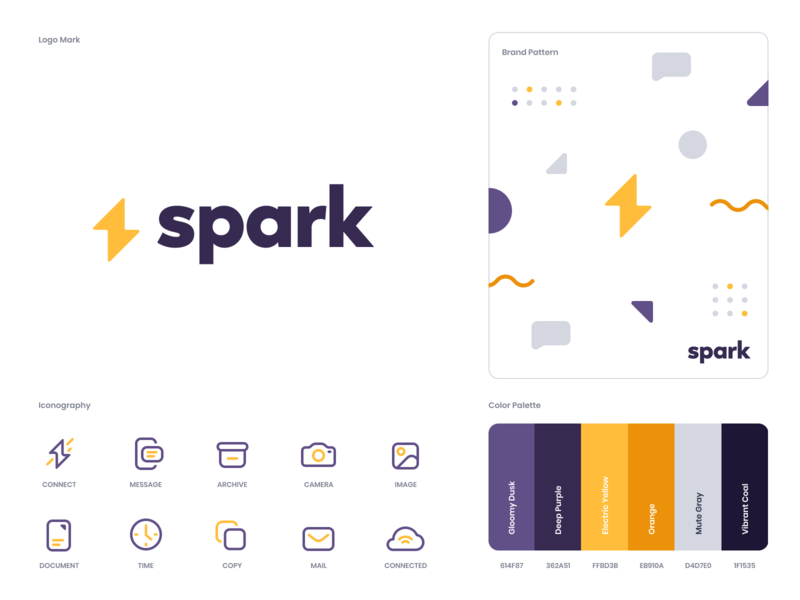 Spark Branding design flat iconography icon art app layout clean type typography minimalistic minimal web website illustration