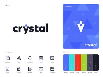 Crystal Branding design flat iconography icon art app layout clean type typography minimalistic minimal web website illustration