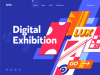 Digital Exhibition design flat iconography icon art app layout clean type typography minimalistic minimal web website illustration