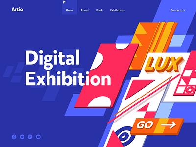 Digital Exhibition design flat iconography icon art app layout clean type typography minimalistic minimal web website illustration