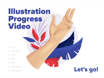 Hand Illustration Process Video typography white minimalistic minimal clean vector web ux ui purple blue red color branding brand illustration hand drawing process tutorial