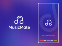 MusicMate Logo design flat iconography icon art app layout clean type typography minimalistic minimal web website illustration