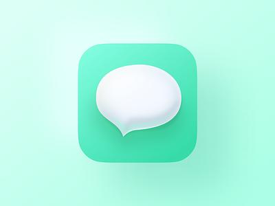 iMessage 3d skeuomorphism apple mobile design flat iconography icon art app layout clean type typography minimalistic minimal illustration