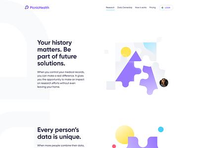 PicnicHealth Website design flat iconography icon art app layout clean type typography minimalistic minimal web website illustration