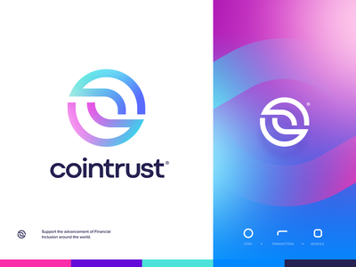 CoinTrust design flat iconography icon art app layout clean type typography minimalistic minimal web website illustration logo