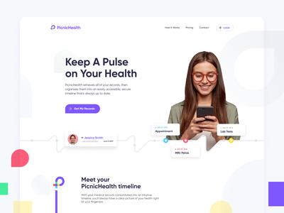 Picnic Health Hero design flat iconography icon art app layout clean type typography minimalistic minimal web website illustration