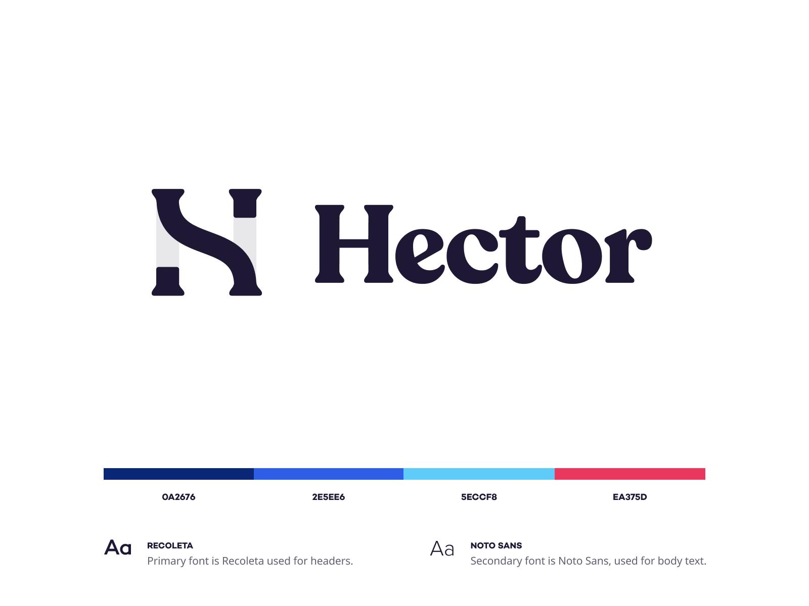 Hector minimal typography illustration icon vector branding logo flat clean minimalistic