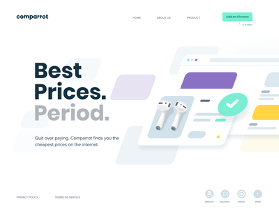 Comparrot minimal branding creative website typography web app clean illustration design minimalistic