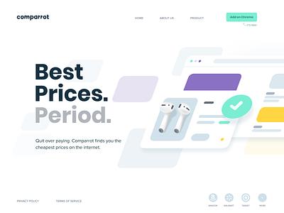 Comparrot minimal branding creative website typography web app clean illustration design minimalistic