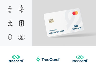 TreeCard typography app logo branding minimal web illustration design clean minimalistic
