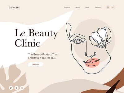 Gusche - Beauty Product Website iconography branding website minimal app web illustration design clean minimalistic