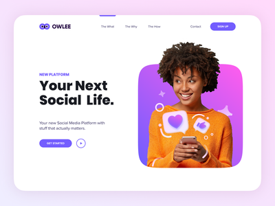 OWLEE Social Media Concept purple creative websites app branding website minimal typography web illustration design clean minimalistic