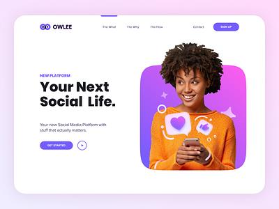 OWLEE Social Media Concept purple creative websites app branding website minimal typography web illustration design clean minimalistic