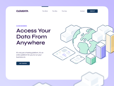 Cloudata Concept branding website minimal web app illustration design clean minimalistic creative page design hero page landing