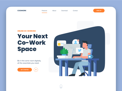 CooWork branding flat website minimal typography app web illustration design clean minimalistic