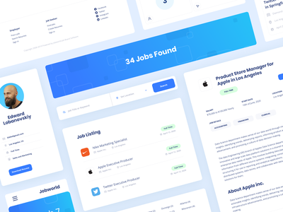 JobWorld branding website minimal typography app web illustration design clean minimalistic