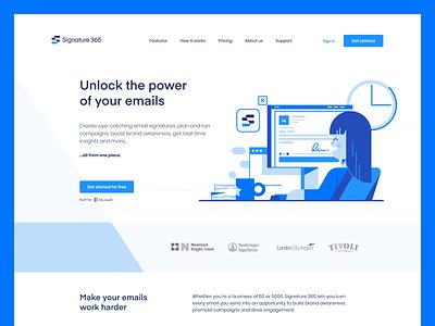Signature 365 ux dark white blue dashboard email website minimal ui logo branding typography app web illustration design clean minimalistic