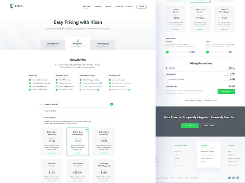 Kizen - CRM pricing list white ui ux design page landing web typography clean crm