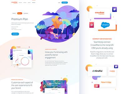 CrowdRise Pricing & Partners illustration app ux ui