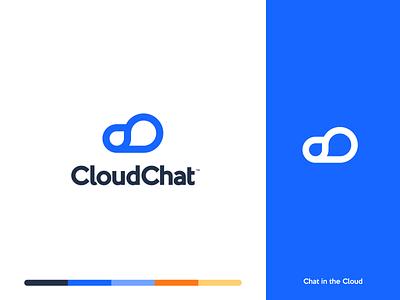 Cloud Chat cloud 2d design landing illustration branding gradient web minimalistic logo black clean white flat app typography ux ui