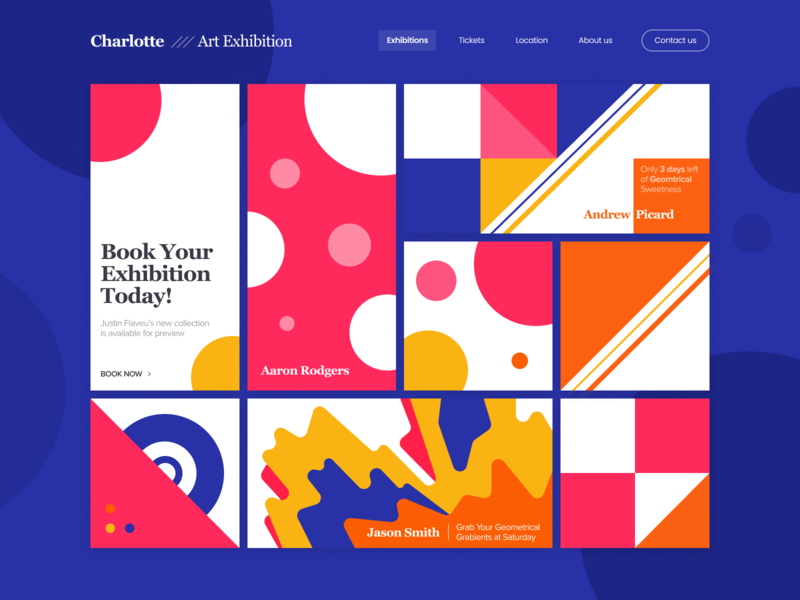 Charlotte Art Exhibition logo color green 2d blue black landing gradient illustration branding web design minimalistic clean app white flat typography ux ui