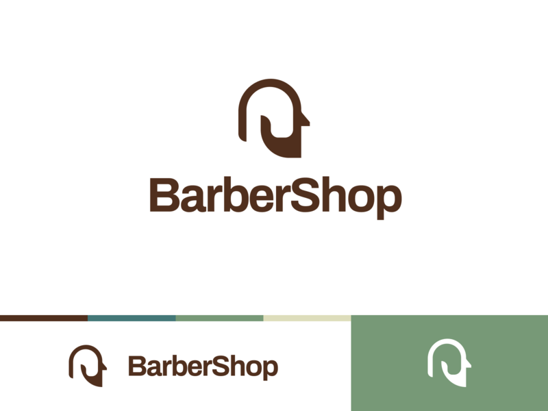 Barbershop Logo clean minimalistic brown barbershop barber branding logo app white flat ux ui