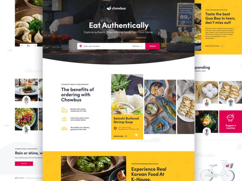 Chowbus chowbus food landing illustration web typography branding design flat app white minimalistic clean ux ui