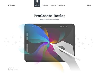 ProCreate website black procreate landing illustration web typography design flat app branding white minimalistic clean ux ui