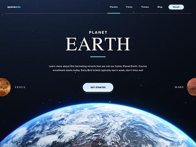 Planet Earth planet space blue website gradient logo black landing illustration web typography design flat app branding white clean ux ui minimalistic