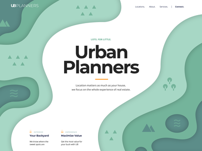 Urban Planners landing page green blue gradient logo black landing web typography illustration design flat branding app white minimalistic clean ux ui